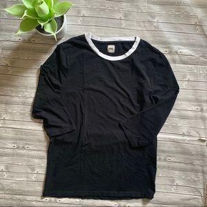 Asos Black 3/4 sleeve Tee Shirt